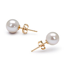 14k Gold White 6.5-7mm AAAA Freshwater Pearl Earring