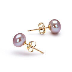 6.5-7mmAAAラベンダー淡水真珠♥14kゴールド♥ピアス