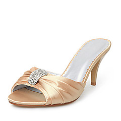 Satin Upper Stiletto Heel Slippers With Rhinestone Wedding Bridal Shoes