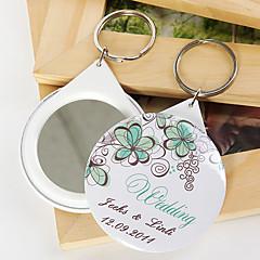 פלסטיק מצדדים במחזיק מפתחות-12 חתיכה / סט מחזיקי מפתחות נושאי גן מותאם אישית לבן / ירוק