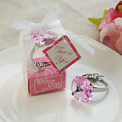 """With this ring"" Crystal key ring (Pink)"