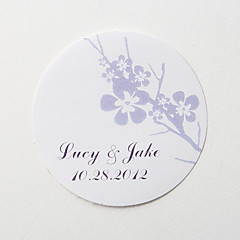 Personalized Round Favor Stickers – Plum Blossom (Set of 36)