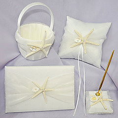 4 Collection Set Ivory Ring Pillow / Guest Book / Flower Basket / Pen Set