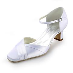 Women's Shoes Silk Flat Heel Heels / Round Toe Heels Wedding / Party & Evening / Dress White