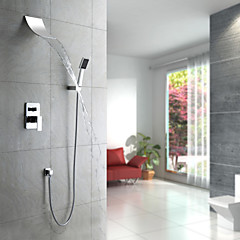 Modern Douchesysteem Waterval / Inclusief handdouche with  Keramische ventiel Single Handle Vijf Gaten for  Chroom , Douchekraan