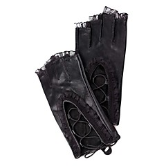 Wrist Length Half Finger Glove Leather / Feather/ Fur Party/ Evening Gloves Spring / Summer / Fall / Winter Pink Floral