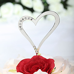 Cake Topper Non-personalized Hearts Chrome Wedding / Anniversary Rhinestone Silver Beach Theme / Classic Theme / Fairytale Theme 1 PVC Bag