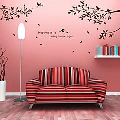 botanischen DIY Worte Wandaufkleber HAPINESS Baum waschbar Wandtattoos