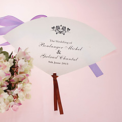 fan personalizado pérola papel mão - rosa (conjunto de 12)