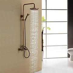 """Antik Zuhany rendszer Zuhany """"eső""""szórófej / Kézi zuhanyzót tartalmaz with  Kerámiaszelep Két fogantyú három lyuk for  Antik bronz ,"""