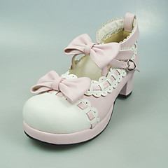 Lolita Shoes Sweet Lolita Princess High Heel Shoes Bowknot 5 CM White / Pink For Women PU Leather/Polyurethane Leather