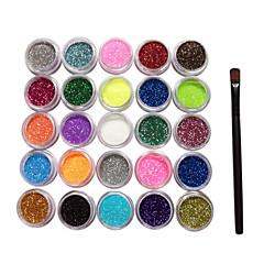 25 Värit Glitter Powder Nail Art Koristeet harjalla