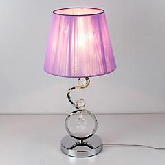 moderne Tischleuchte mit eleganten rosa plissierte Stoffschirm Kristall Dekor 220-240V