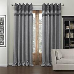 moderne to paneler solide grå stue poly bomuld blanding blackout gardiner forhæng