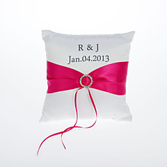 Personalized Ring Pillow With Sash Coral Wedding