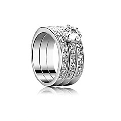 Unique High Quality Platinum Plated Alloy With Crystal Ring