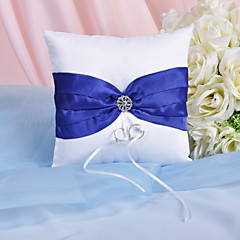 Splendor Ring Pillow With Royal Blue Sash And Rhinestones