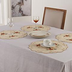 Set von 6 Blumenstickerei Tischsets