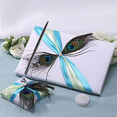 Guest Book / Pen Set Satin Garden ThemeWithSash / Feather