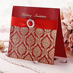 Wedding invitation With Gold Printing and Red Ribbon - Set of 50