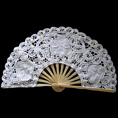 White Flower&Heart Design Lace Hand Fan