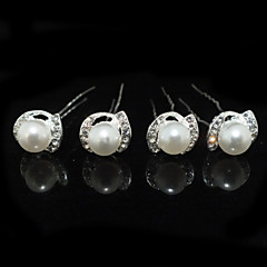 Four Pieces Alloy Wedding Bridal Hairpins With Rhinestones And Imitation Pearls