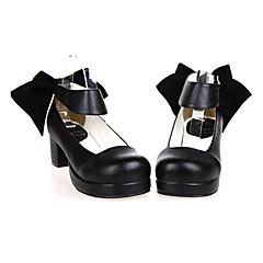 Sapatos Lolita Clássica e Tradicional Confeccionada à Mão Salto Alto Sapatos Cor Única 4.5 CM Preto Para FemininoCouro PU/Couro de
