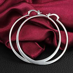 Halka Küpeler Gümüş Kaplama Circle Shape Gümüş Mücevher Için 2pcs