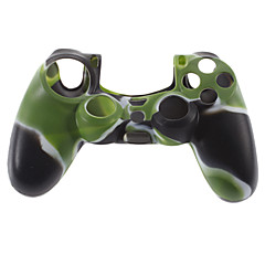 Silikoni iho tapauksessa ja 2 musta Thumb Stick Grips for PS4 (Hunter Green)
