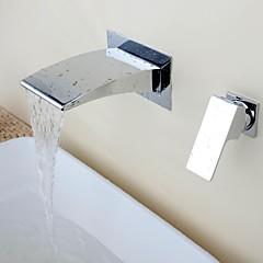 Wandmontage Wasserfall Keramisches Ventil Einzigen Handgriff Zwei Löcher with Chrom Waschbecken Wasserhahn