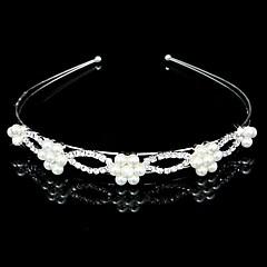 Mujer / Niña de flor Diamantes Sintéticos / Perla Artificial Celada-Boda Bandas de cabeza Plata Redondo