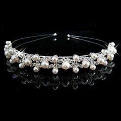 Women's / Flower Girl's Rhinestone / Imitation Pearl Headpiece-Wedding Headbands Silver Round