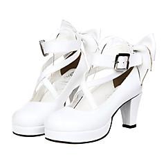 Sapatos Lolita Clássica e Tradicional Princesa Salto Alto Sapatos Laço 7 CM Branco Para Feminino Couro PU/Couro de Poliuretano