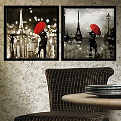 Menschen / Architektur Gerahmtes Leinenbild / Gerahmtes Set Wall Art,PVC Schwarz Kein Passpartout Mit Feld Wall Art
