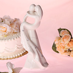 Cake Topper Non-personalized Ceramic Wedding Rhinestone White Classic Theme Gift Box