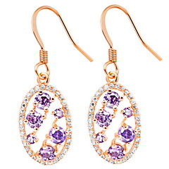 Fashion Gold Or Silver Plated With Purple Cubic Zirconia Oval Women's Earrings(More Colors)
