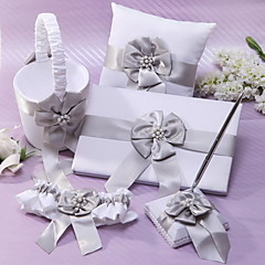 White Chiffon Wedding Collection Set met Gray Sash en Faux Pearl (5 stuks)