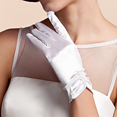 Wrist Length Fingertips Glove Satin Bridal Gloves Spring Summer Fall Winter Pleated