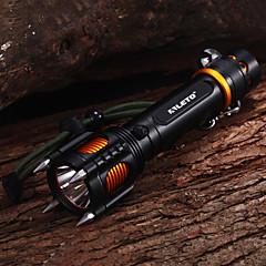 5モード Cree XM-L T6 サイレンアラーム内蔵耐衝撃LEDフラッシュライト スパイクヘッド (18650x1、2000LM)