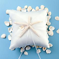 strand thema zeesterren ontwerp wit satijnen ringkussen