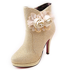 Satin Women's Wedding Stiletto Heel Platform Ankle Fashion Boots with Flowers(More Colors)