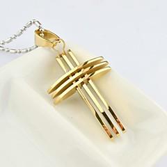 Homens Colares com Pendentes Formato de Cruz Aço Titânio Chapeado Dourado Moda bijuterias Jóias Para Diário Casual Presentes de Natal