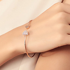 Women's Bangles Cuff Bracelet Basic Love Fashion Rhinestone Gold Plated Alloy Heart Silver Golden Jewelry ForWedding Party Birthday Gift