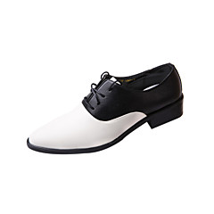 Men's Shoes Leather Wedding / Party & Evening Oxfords Wedding / Party & Evening Flat Heel Lace-up Black / White