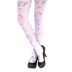 Meias e Meias-Calças Gótica Lolita Lolita Branco Lolita Acessórios Meias Finas Estampado Para Feminino Seda
