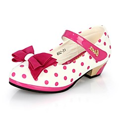 Girl's Spring / Summer / Fall Heels Leatherette Casual / Party & Evening Low Heel Bowknot / Polka Dot / Magic Tape Black / Red