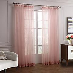zwei Panele Modern Solide Rosa Schlafzimmer Polyester Gardinen Shades