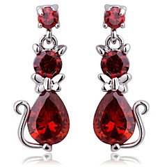 Brass With Cubic Zirconia Drop Earrings(More Colors)