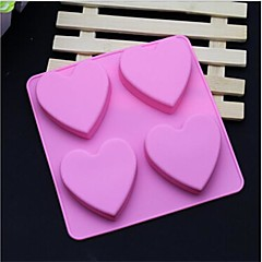 4 hole hartvorm zeep cake ijs gelei chocolade siliconen mallen