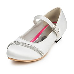 Girl's Spring / Summer / Fall / Winter Comfort Satin Wedding Flat Heel Rhinestone Pink / Red / Ivory / White